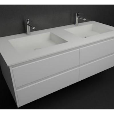 Ensemble Vasque double Corian® Square + meuble 4 tiroirs