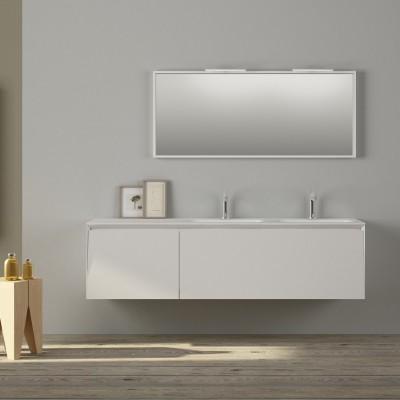 Vasque double Corian® Nevada + meuble 2 tiroirs