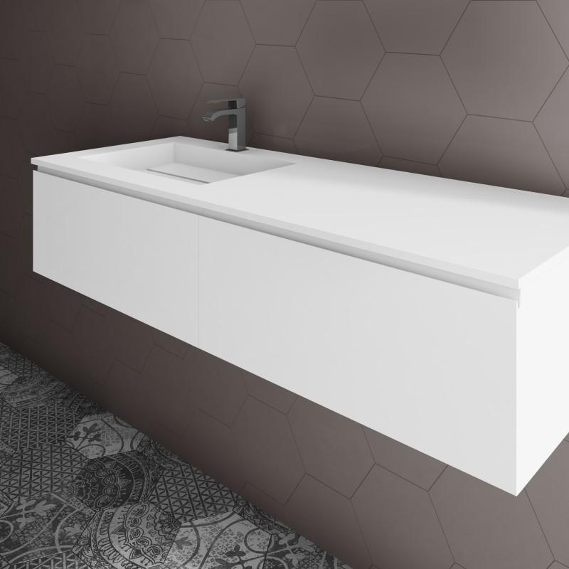ensemble vasque corian alabama sur meuble suspendu 2 tiroirs align s mobilier salle de bains. Black Bedroom Furniture Sets. Home Design Ideas