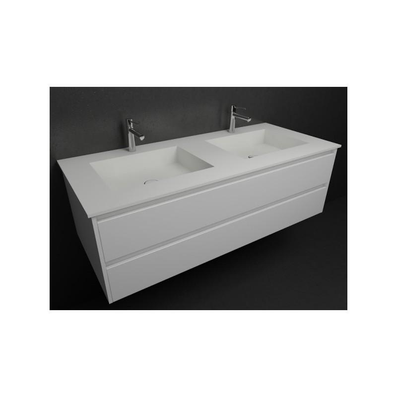 Double vasque square sur meuble deux tiroirs salle de for Meuble deux vasque