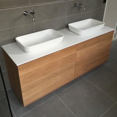 Ensemble Double Vasque à Poser Corian® + Meuble 4 tiroirs Chêne Massif