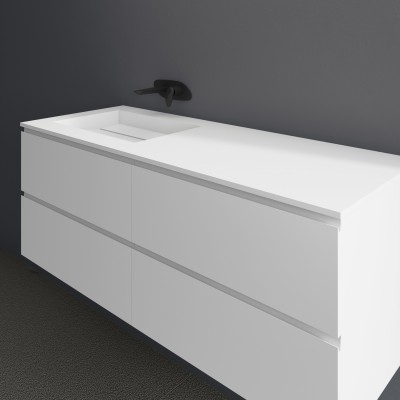 Ensemble Vasque Corian® Alabama + Meuble 4 Tiroirs superposés