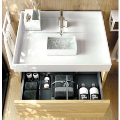 Vasque avec récipient d'eau + Meuble 1 tiroir