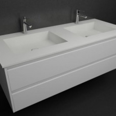 Ensemble Vasque double Corian® Square + Meuble 2 tiroirs