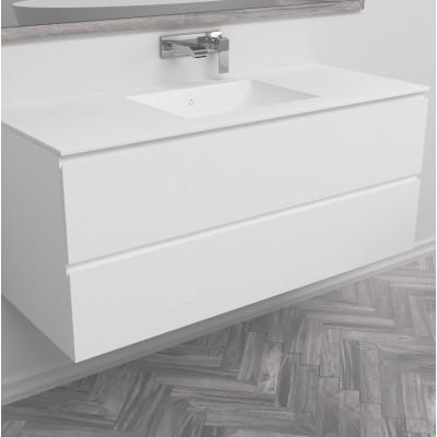 Ensemble Plan Vasque Refresh en Corian® sur meuble 2 tiroirs superposés