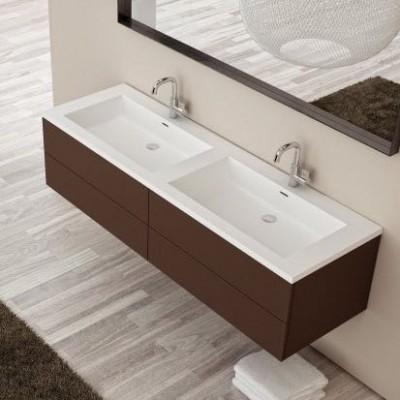 double vasque corian square sur meuble 4 tiroirs salle. Black Bedroom Furniture Sets. Home Design Ideas
