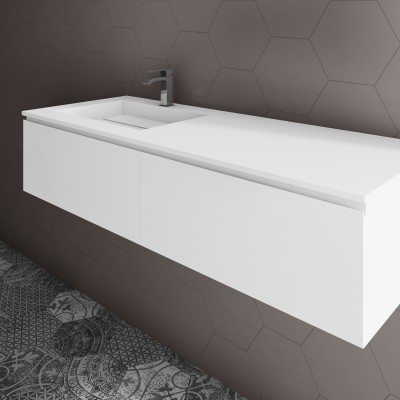 Washbasin Corian® Alabama cabinet x 2 aligned drawers