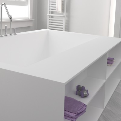 Custom Sized Bathtub Corian® Integrated shelves front