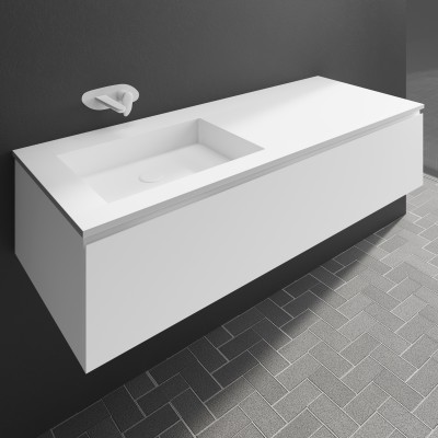 Washbasin Corian® Square cabinet x 1 drawer