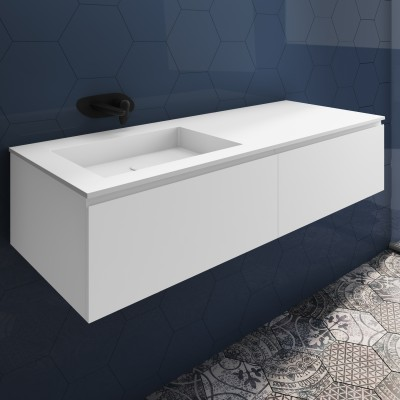 Washbasin Corian® Square cabinet x 2 aligned drawers