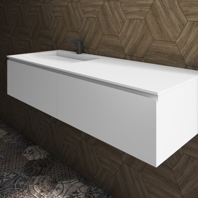 Washbasin Corian® Tennessee cabinet x 2 aligned drawers