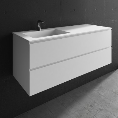 Washbasin Corian® Square cabinet x 2 piled drawers