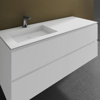 Washbasin Corian® Square cabinet x 4 piled drawers