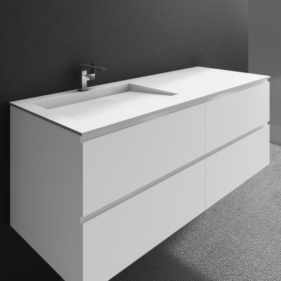 Washbasin Corian® Tennessee cabinet x 4 piled drawers