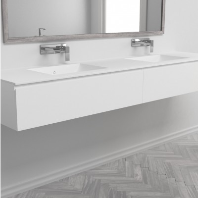 Washbasin Corian® Refresh cabinet x 2 aligned drawers