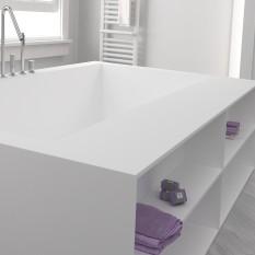 Badewanne nach Maß aus Corian® von DuPont™ Regalfache Vorderseite